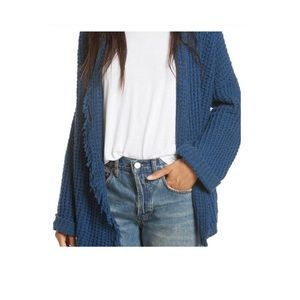 Free People blue fringed sweater size Small